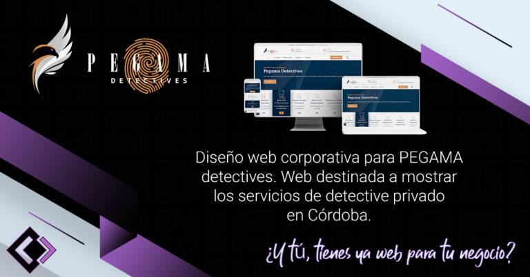 Diseño web corporativa para PEGAMA detectives. Web destinada a mostrar los servicios de detective privado en Córdoba